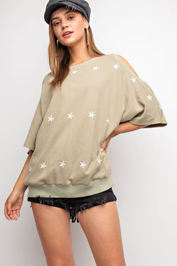 Buy Star Embroidered Cold Shoulder Top Sage online at Southern Fashion Boutique Bliss