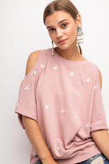 Buy Star Embroidered Cold Shoulder Top Rose online at Southern Fashion Boutique Bliss