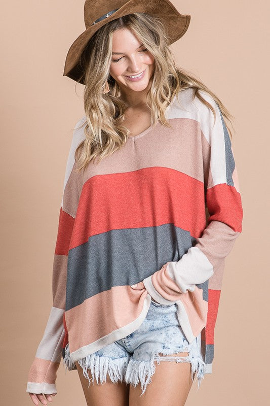 Color Blocked v Neck Knit Jersey Top Multi