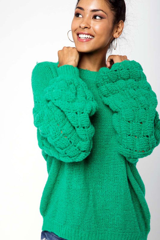 Textured Bubble Sleeve Sweater Green