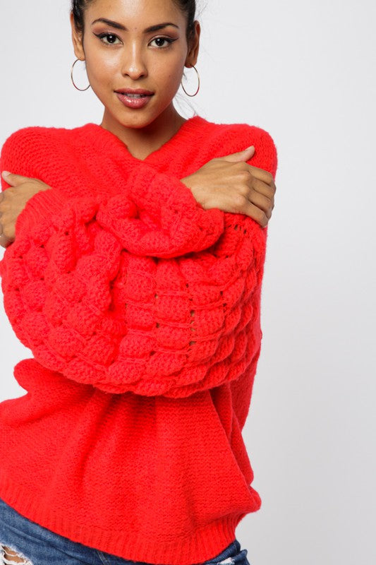 Buy Textured Bubble Sleeve Sweater Red online at Southern Fashion Boutique Bliss