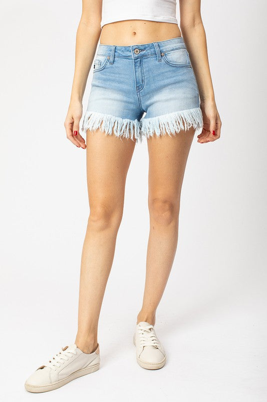Buy Low Rise Hem Detail Shorts Light Denim online at Southern Fashion Boutique Bliss