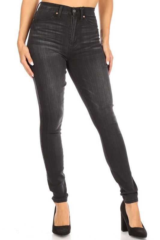 Curvy High Waist Skinny Jeans Black