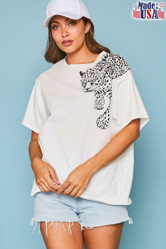 Buy Cheetah Graphic Print Tee Shirt Off White online at Southern Fashion Boutique Bliss