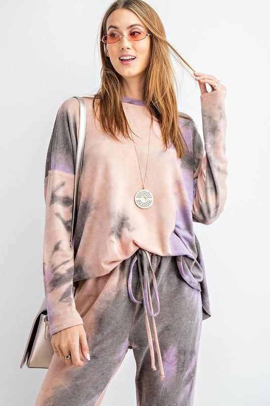 Long Sleeve Tie Dye Pullover Top Mauve