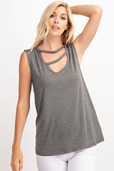Buy Solid Sleeveless Cutout Top Heather Charcoal online at Southern Fashion Boutique Bliss