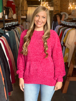 Cyber Monday Chenille Sweater Hot Pink