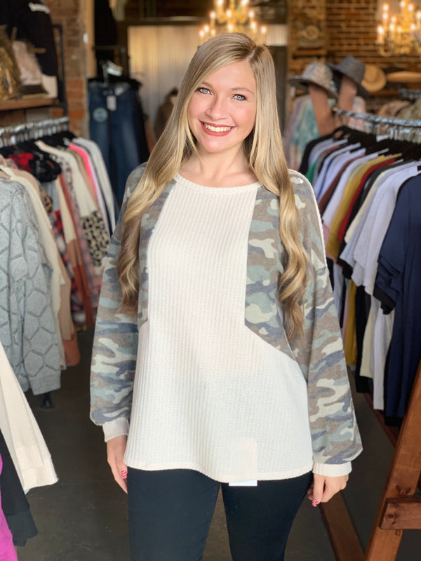 Buy Camo Print Brushed Waffle Top Cream online at Southern Fashion Boutique Bliss