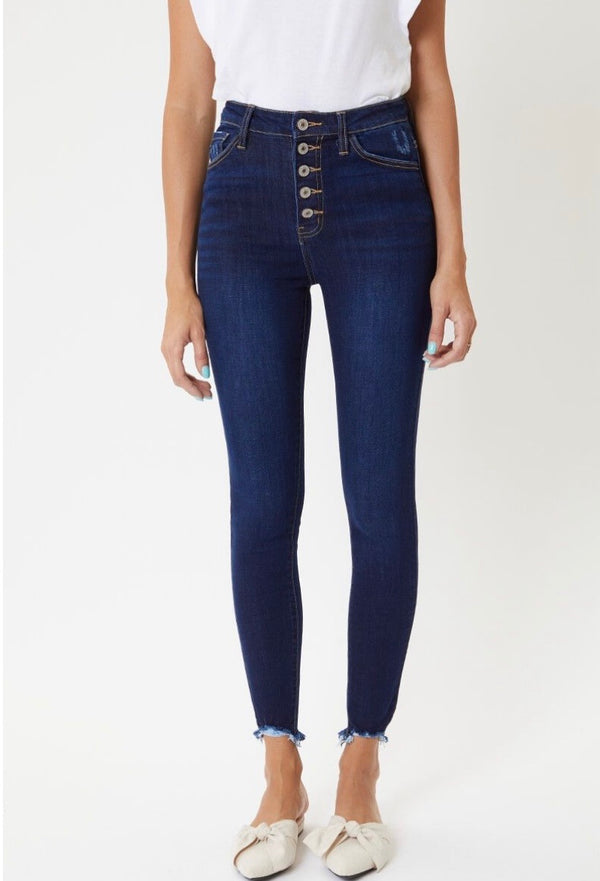 Buy High Rise Button Fly Skinny Jeans Dark online at Southern Fashion Boutique Bliss