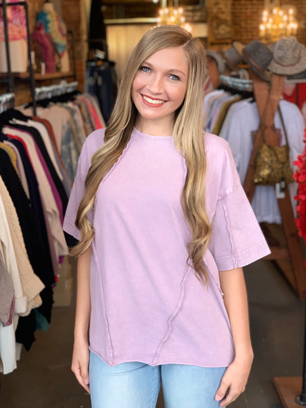 Buy Short Sleeve Fray Detail Top Rose online at Southern Fashion Boutique Bliss