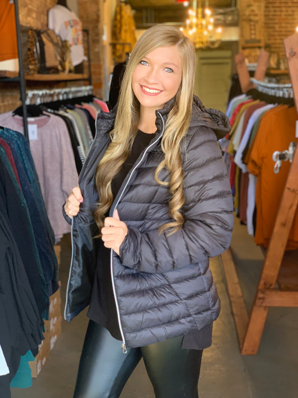 Buy Puff Jacket with Removable Hood Black online at Southern Fashion Boutique Bliss