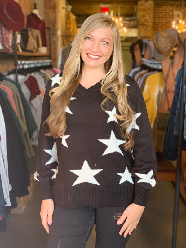 V-Neck Star Print Sweater Black