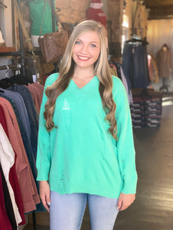 Distressed Knit Sweater Top Mint Green