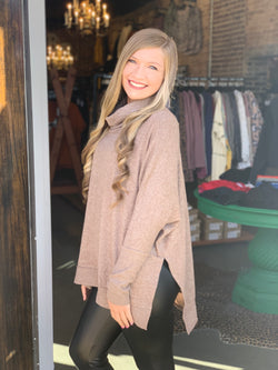 Buy Cowl Neck Hi-Low Sweater Mocha online at Southern Fashion Boutique Bliss