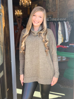 Buy Cowl Neck Hi-Low Sweater Olive online at Southern Fashion Boutique Bliss