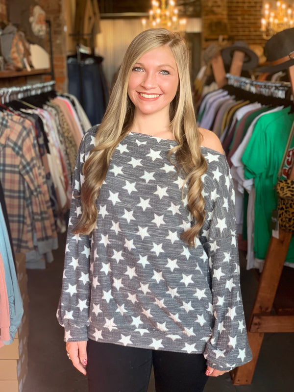 Star Patterned Boat Neck Top Charcoal