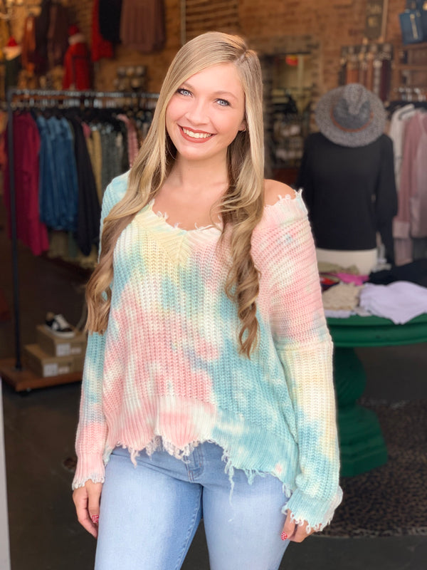 Buy Frayed V-Neck Tie Dye Sweater Multi-Color online at Southern Fashion Boutique Bliss