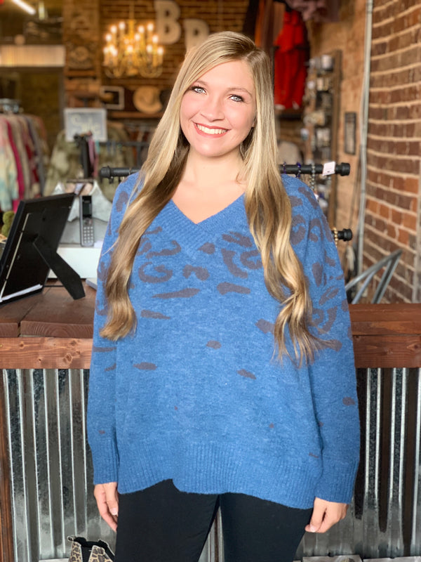 Animal Print V-Neck Sweater Top Teal