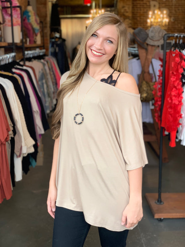Boat Neck Loose Fit Top Mushroom