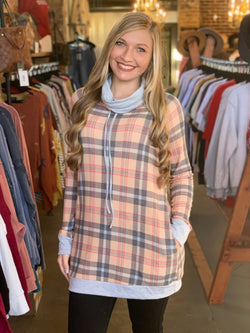 Buy Tartan Plaid Tunic Top Tan online at Southern Fashion Boutique Bliss