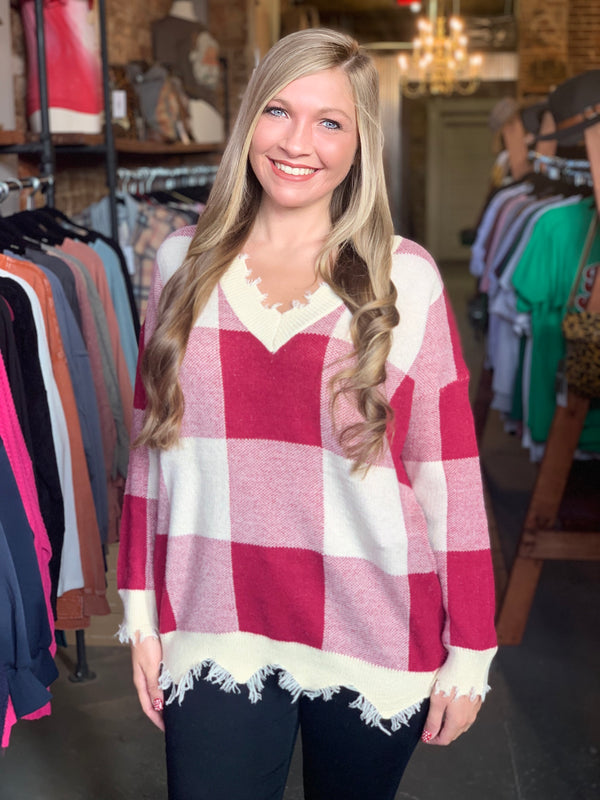 Buy Distressed V-Neck Plaid Sweater Wine online at Southern Fashion Boutique Bliss