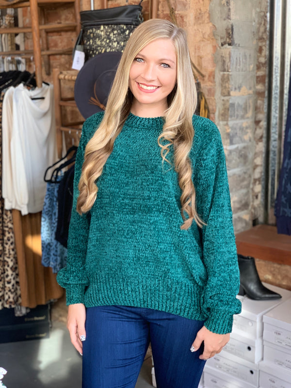 Buy Cyber Monday Chenille Sweater Green online at Southern Fashion Boutique Bliss