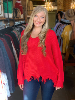 Buy Frayed Hem V-Neck Sweater Red online at Southern Fashion Boutique Bliss