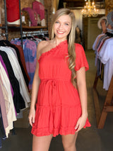 Buy One Shoulder Ruffled Detail Dress Red online at Southern Fashion Boutique Bliss