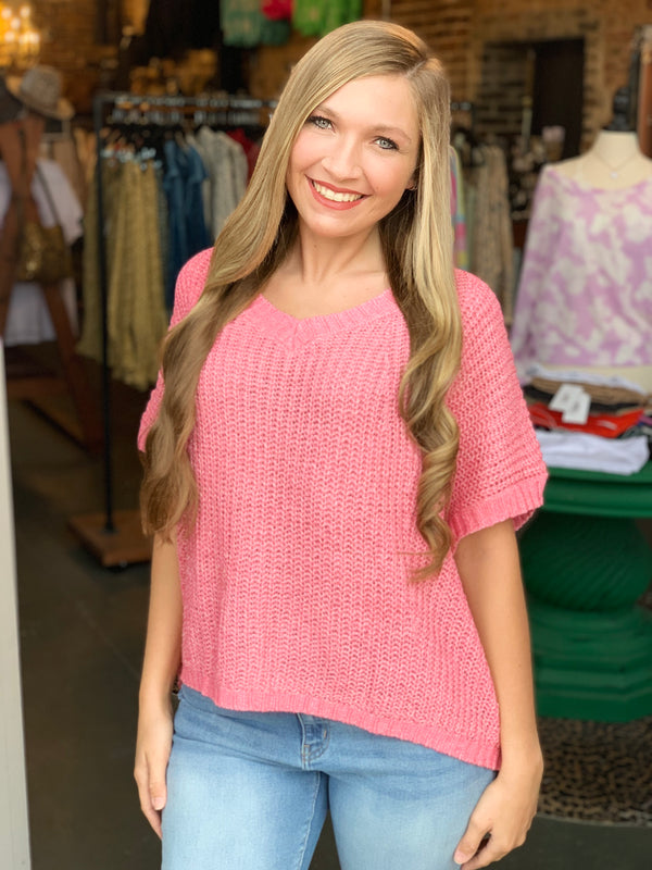 Off Shoulder V-Neck Sweater Coral