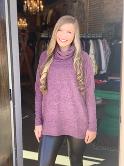 Cowl Neck Hi-Low Sweater Plum
