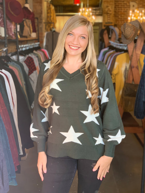 V-Neck Star Print Sweater Green