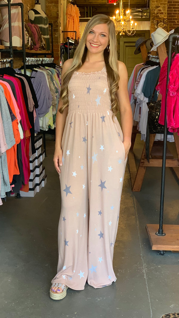 Smocking Detailed Knit Star Jumpsuit Tan