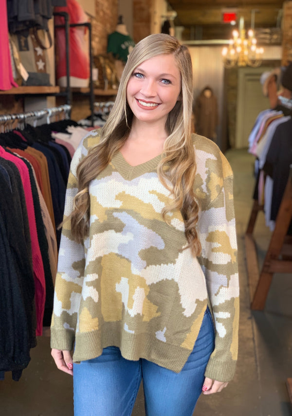 Buy Spotted Camo Sweater Top Olive online at Southern Fashion Boutique Bliss