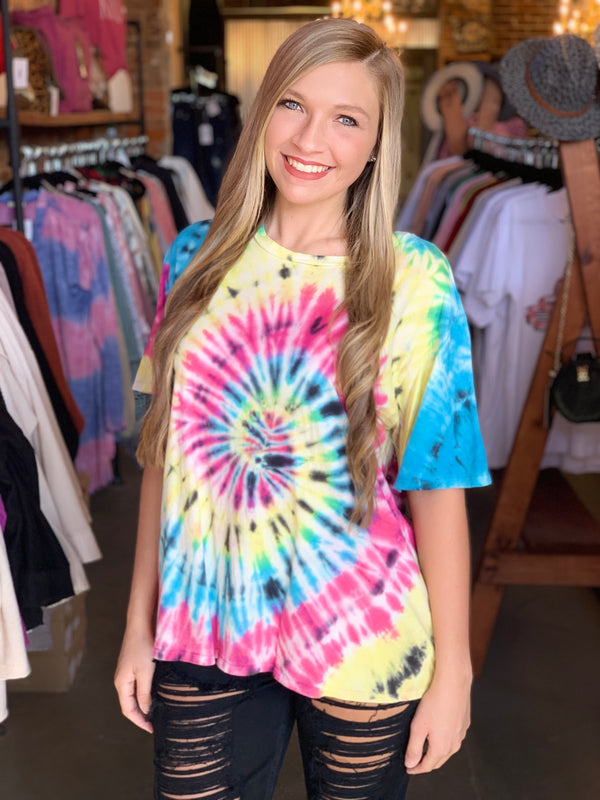 Buy Short Sleeve Tie Dye Tee Top Black/Pink online at Southern Fashion Boutique Bliss