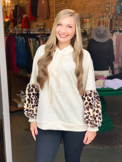 Buy French Terry Hoodie Top Oatmeal Leopard online at Southern Fashion Boutique Bliss