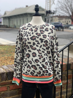 Leopard Rainbow Accent Top Oatmeal