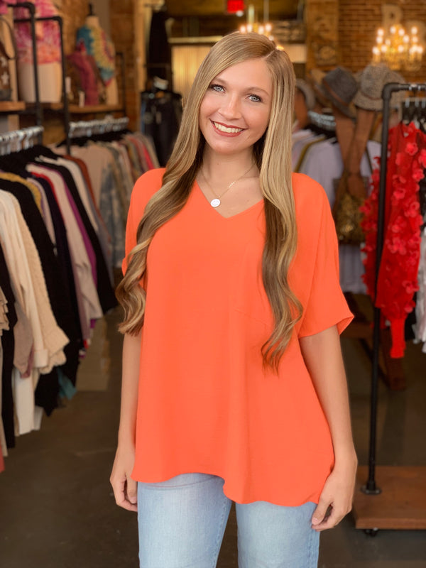 Dolman Short Sleeve V-Neck Top Orange