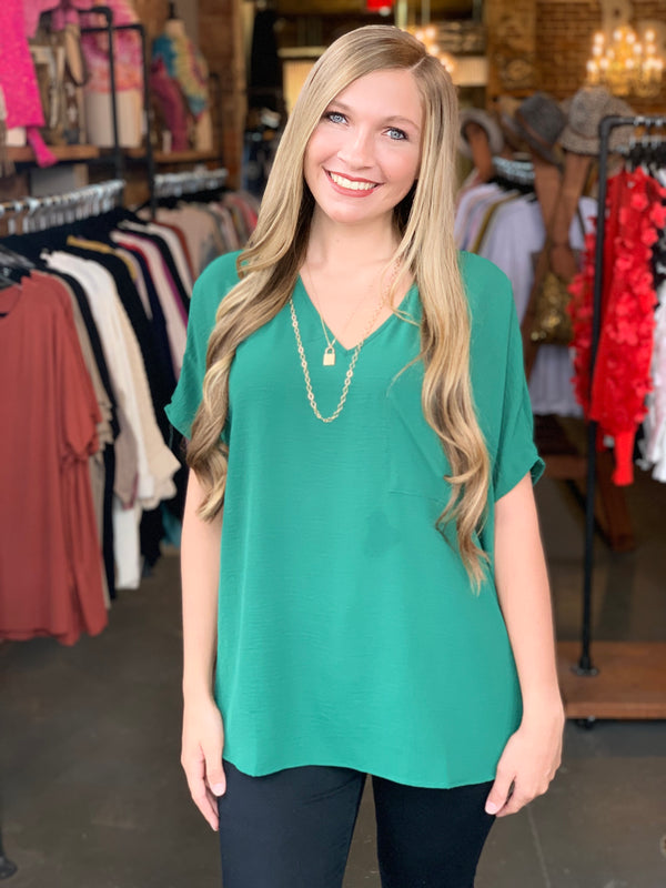 Dolman Short Sleeve V-Neck Top Green