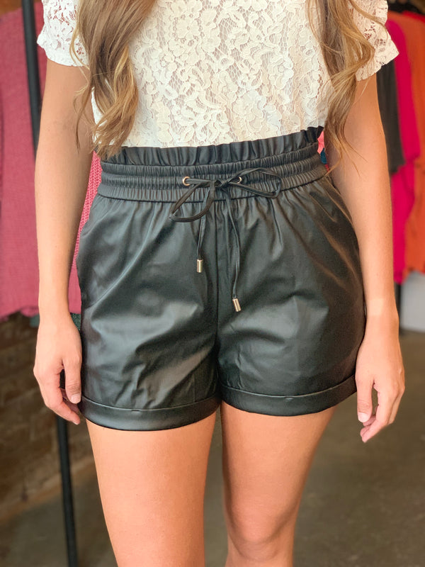 Faux Leather Paperbag Waist Shorts Black