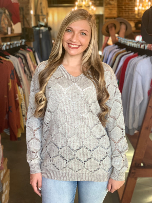 Buy Long Sleeve V-Neck Sweater Grey online at Southern Fashion Boutique Bliss