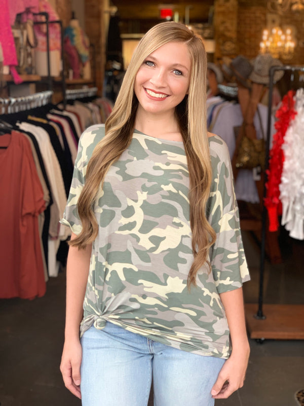 Half Sleeve Drop Shoulder Top Camo