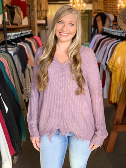 Frayed V-Neck Sweater Purple Ash