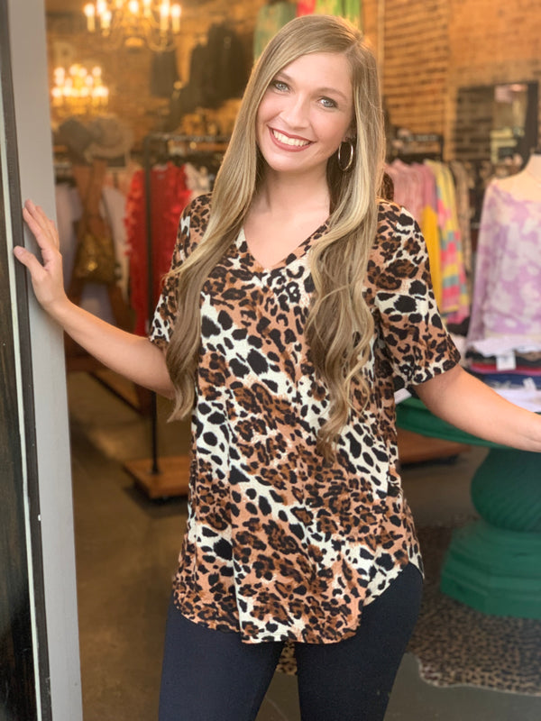 Buy Round Hem V-Neck Rolled Sleeve Top Leopard online at Southern Fashion Boutique Bliss