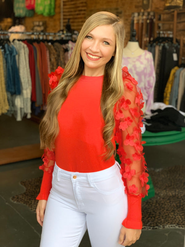 Buy Flower Mesh Sleeves Knit Top Red online at Southern Fashion Boutique Bliss