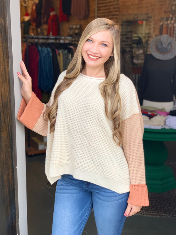 Waffle Knit Color Block Sweater Blush