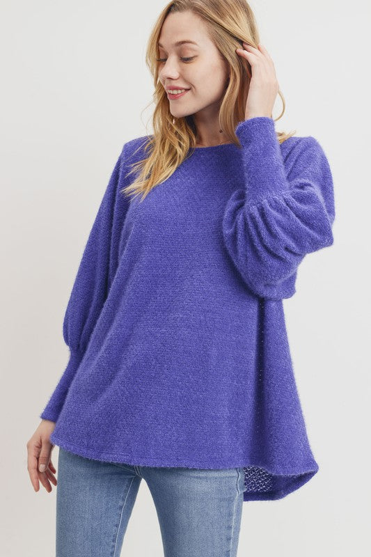 Buy Long Balloon Sleeve Eyelash Knit Top Blue online at Southern Fashion Boutique Bliss
