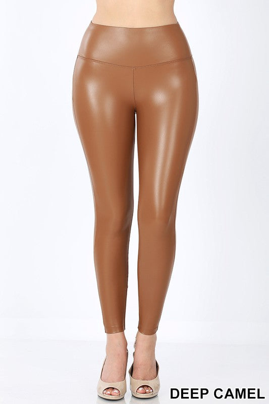 Faux Leather Leggings Camel