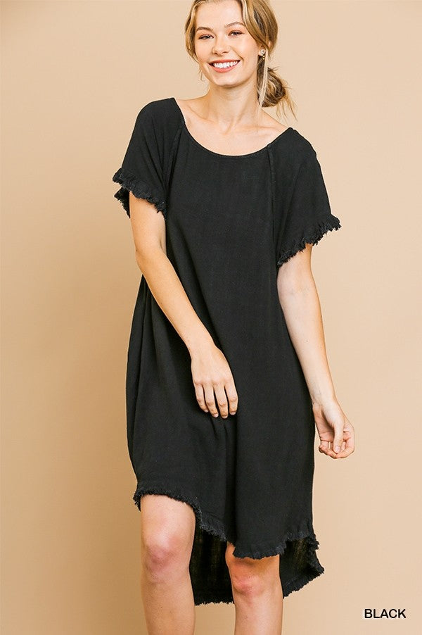Buy Round Neck Pocket Dress with Fringe Black online at Southern Fashion Boutique Bliss