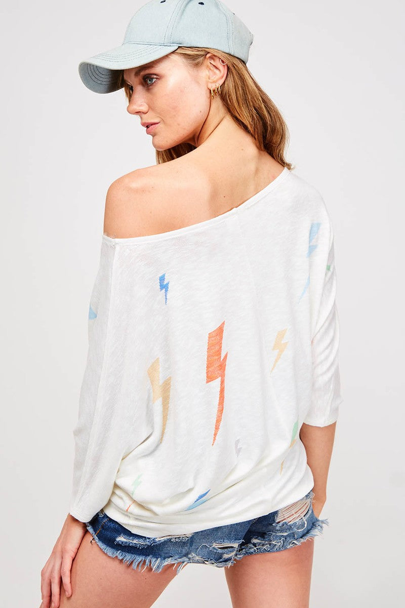 Buy Thunderbolt 3/4 Sleeve Batwing Top Off White online at Southern Fashion Boutique Bliss