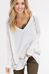 Buy Waffle Textured V-Neck Knit Tunic Top Ivory online at Southern Fashion Boutique Bliss